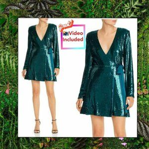 NWT Ramy Brook Sequined Wrap Dress L Emerald Green